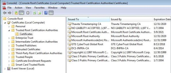 Trusted Root Certificates